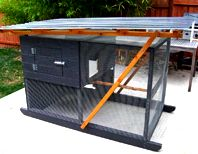Modern, mobile chicken coop built using The Garden Ark plans