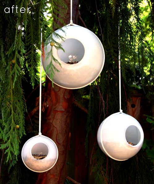 Outdoor project - turn an old light globe into a modern birdfeeder, from Design*Sponge