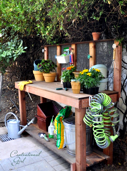 Outdoor project - build a potting bench, from Centsational Girl