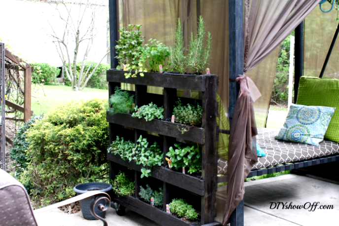 Outdoor project - make a vertical herb garden from a shipping pallet