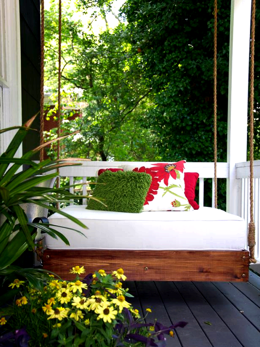 Outdoor project - make a hanging daybed for a covered porch or patio, from HGTV Remodels