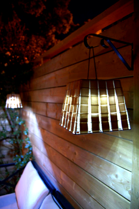 Outdoor project - make hanging outdoor lanters from baskets, from The Art Of Doing Stuff